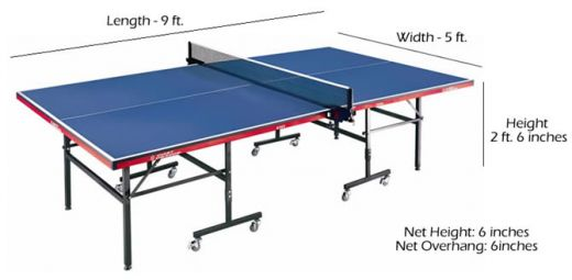 table tennis table dimension