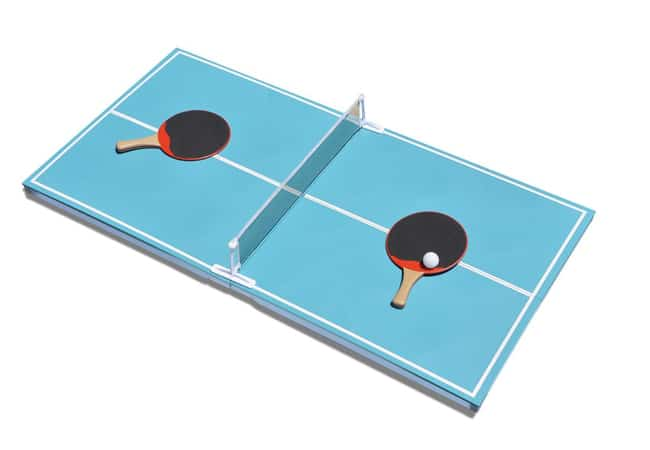 Blue floating ping pong table
