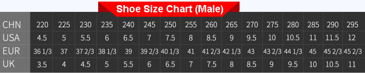 shoe size chart for male